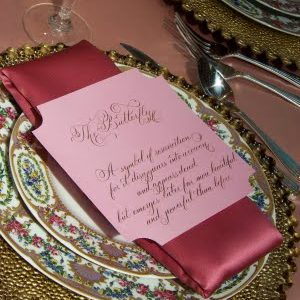 pink table stationery