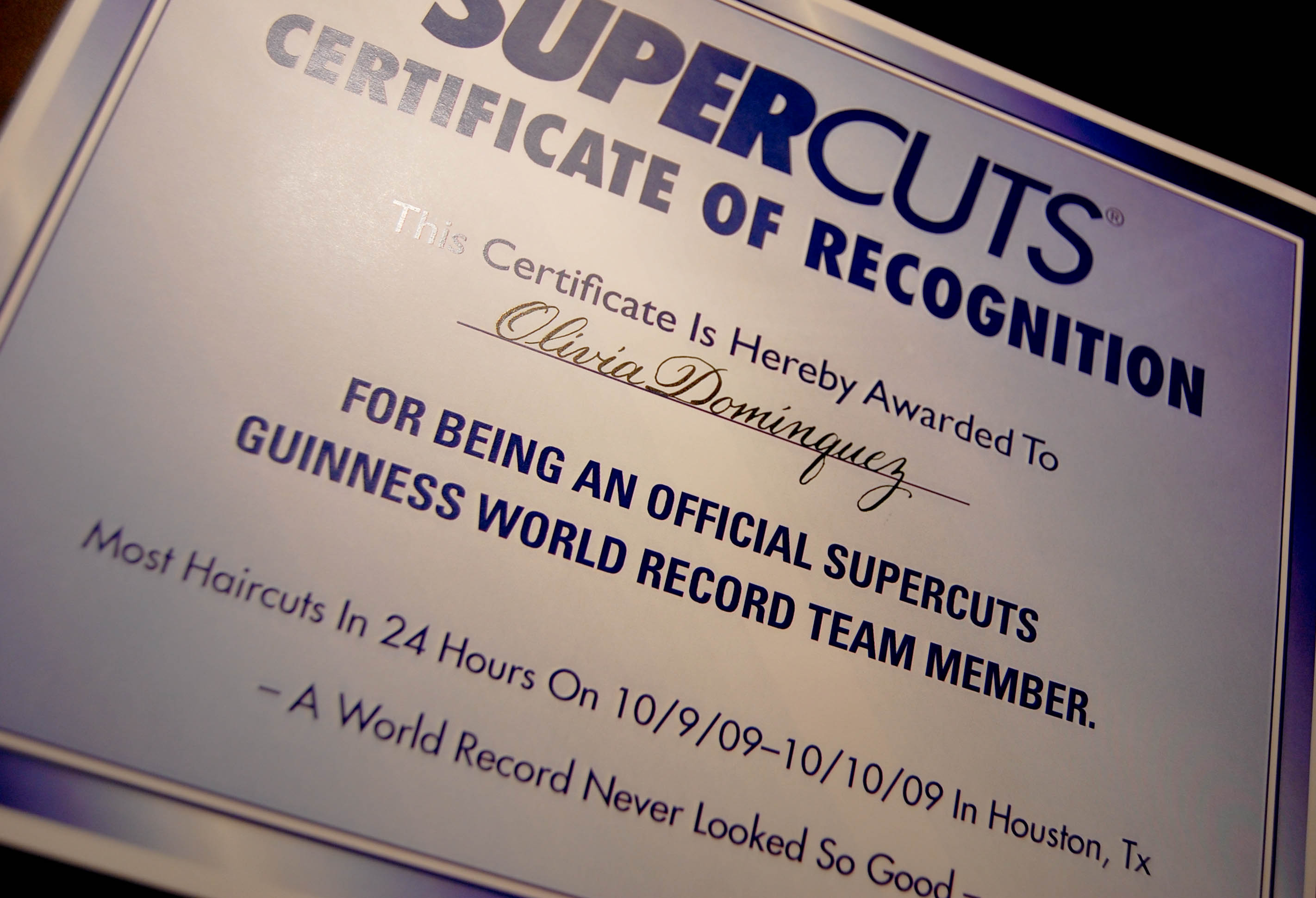 Certificates For Super Cuts Left Handed Calligrapher