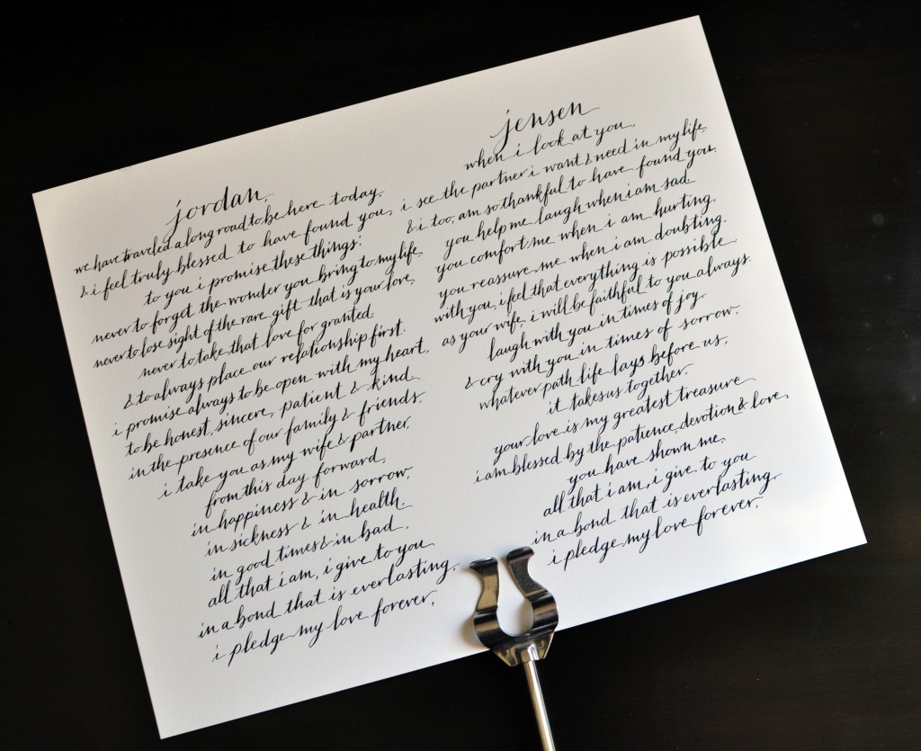 Wedding calligrapher austin texas wedding vows left handed calligraphy wedding vows junglespirit Images