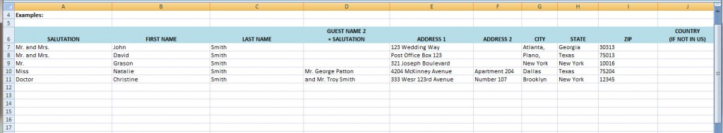 excel wedding guest list