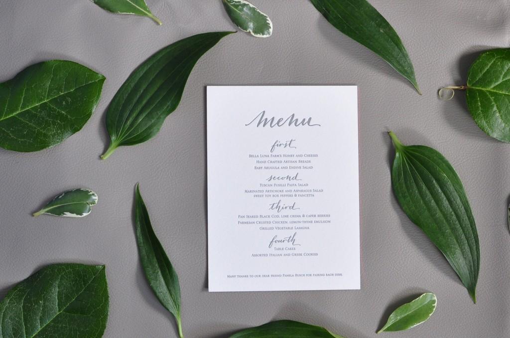 bella figura calligraphy menu