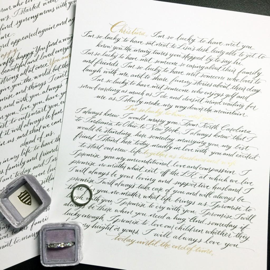 modern wedding calligraphy vows