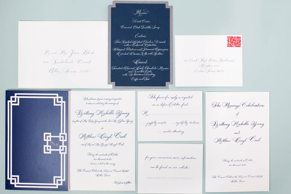 letterpress calligraphy wedding stationery