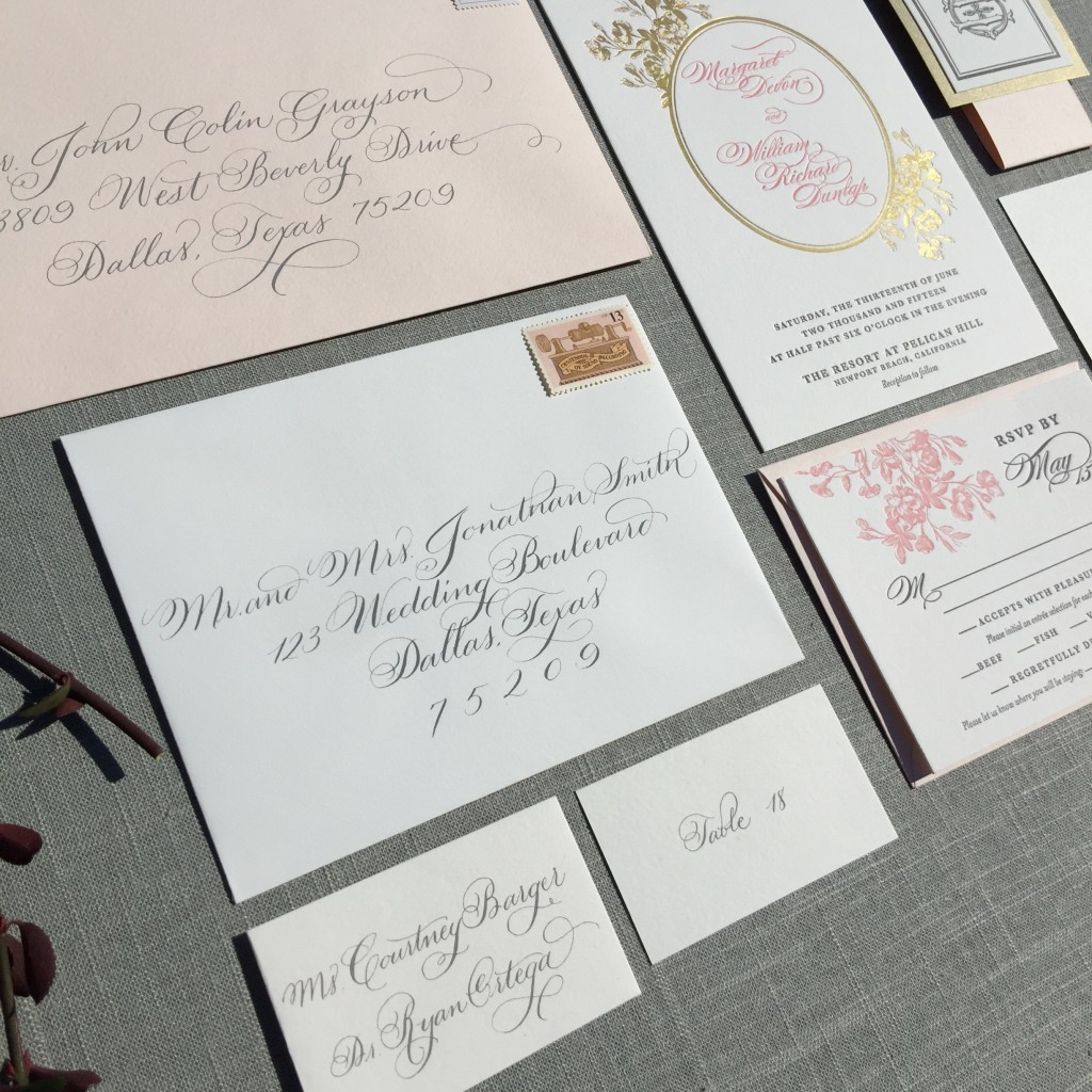 escort card calligraphy