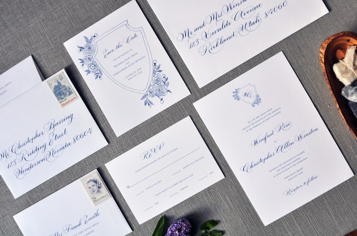 budget wedding calligraphy invitations