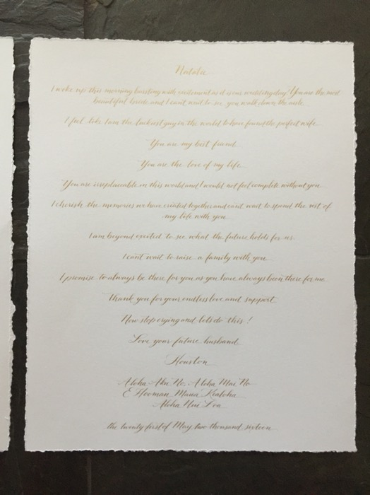 calligraphy wedding vows dallas, texas