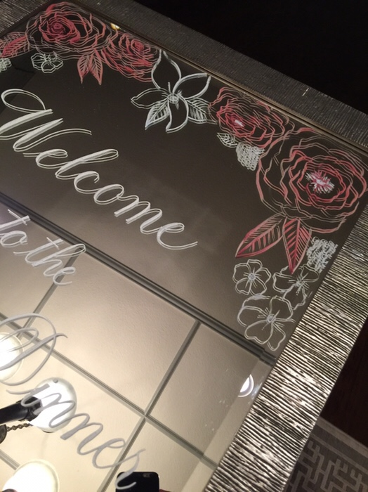 Dallas wedding calligraphy welcome mirror left handed calligrapher this pretty mirror was designed to welcome the couples guests and reflect the invitation design stopboris Choice Image