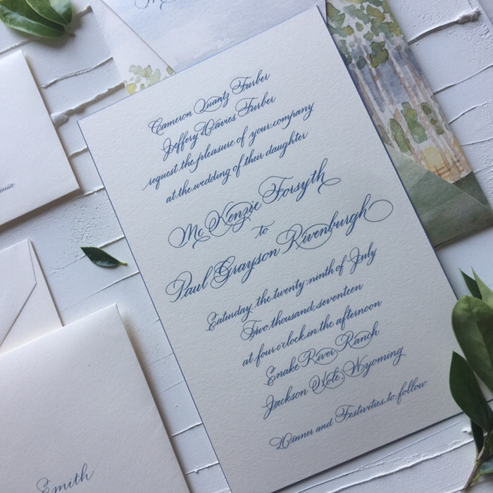 Jackson hole wyoming wedding in martha stewart weddings left i did the calligraphy for the wedding invitation in my classic zander hand it was then engraved in the prettiest dusty blue you have seen stopboris Choice Image