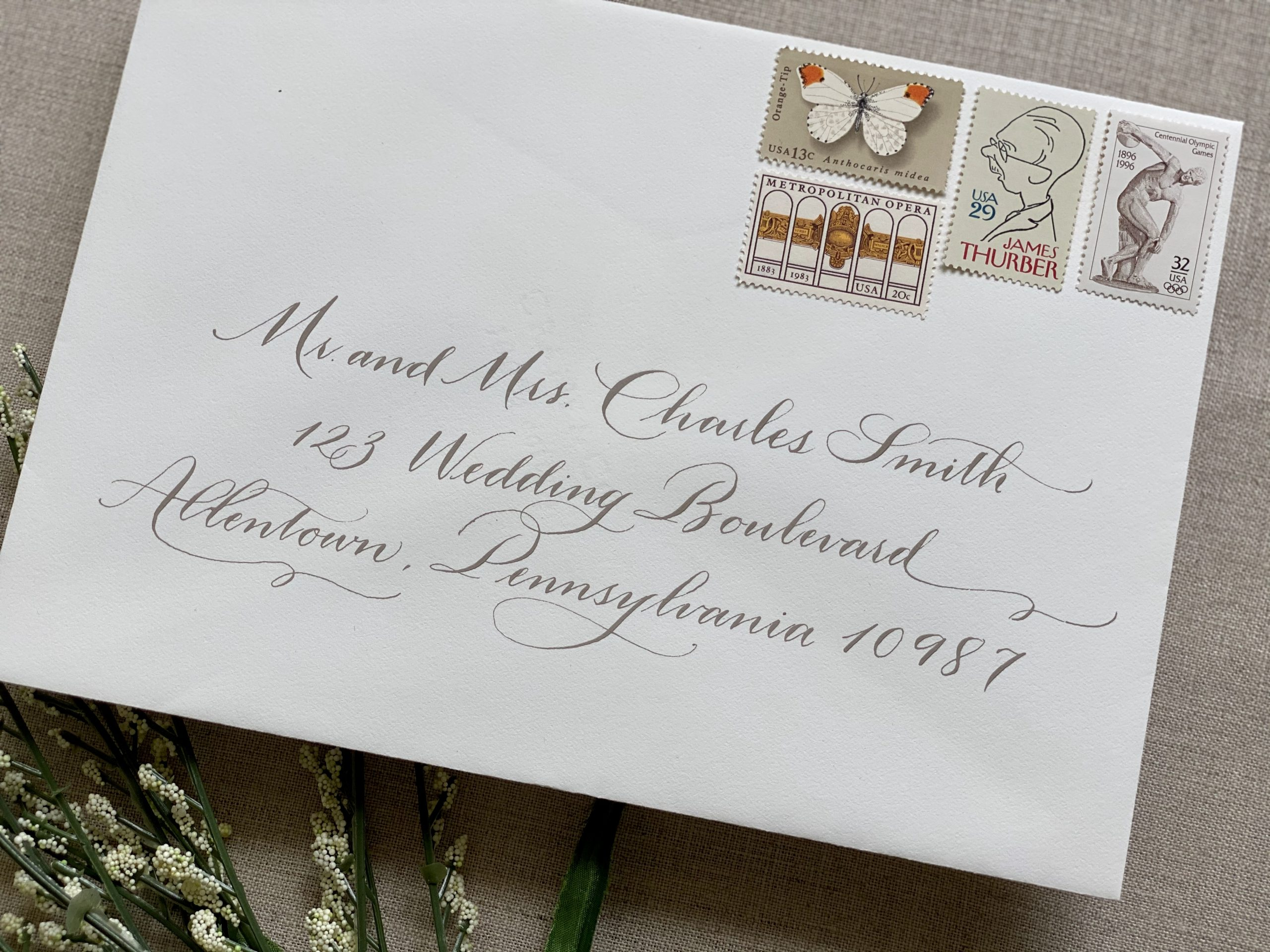 modern flourished wedding calligraphy