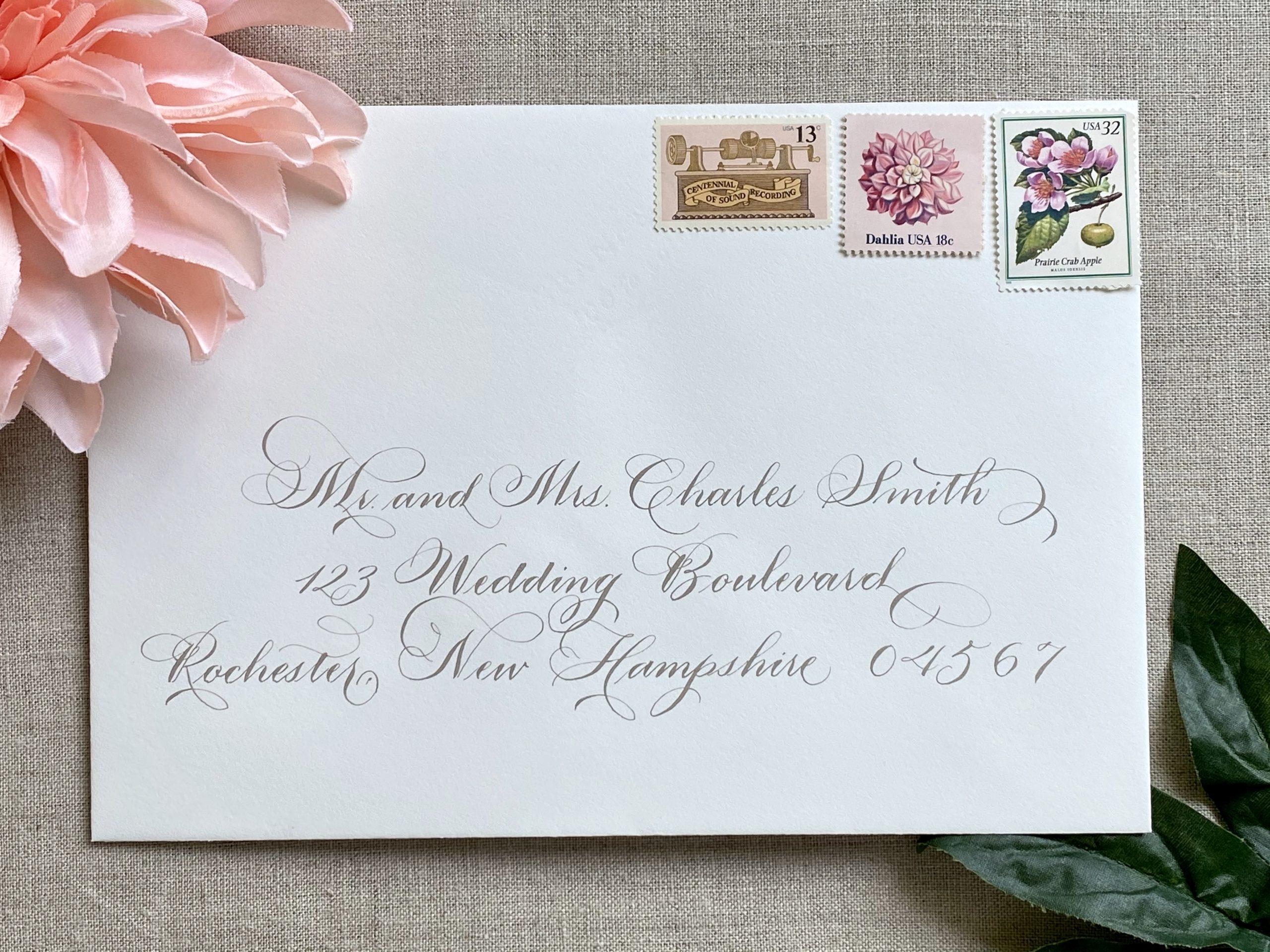 flourished wedding calligraphy