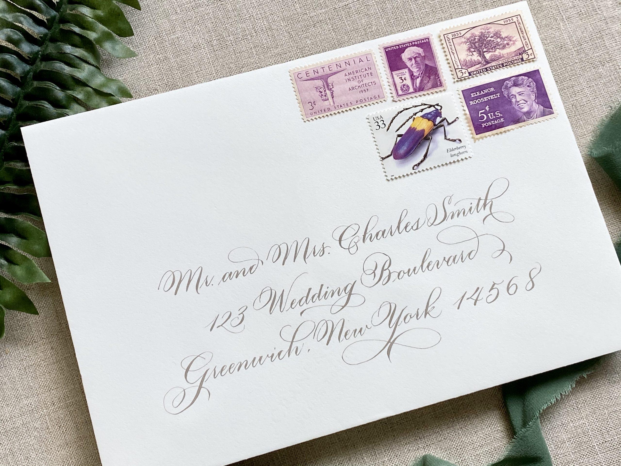 flourished envelope calligraphy
